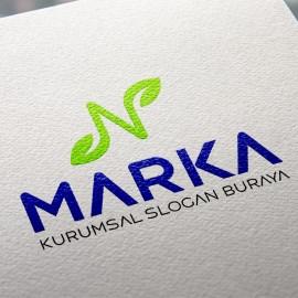 N Harfi ve Yapraklar Doğal Logo Tasarımı