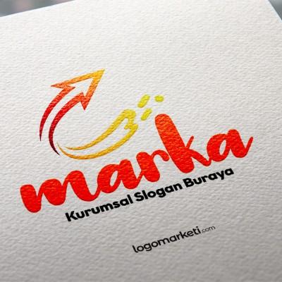 C Harfi ve Ok Logo Tasarımı